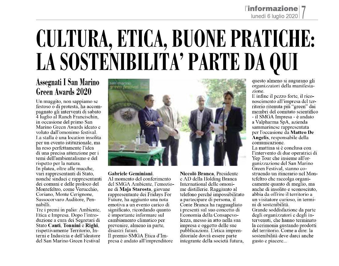 Ho ricevuto il Premio San Marino Green Awards Etica d'Impresa